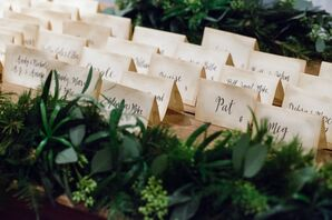 Antique-Style Escort Cards With Calligraphy