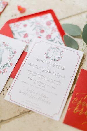 Red Invitations with Floral and Gold Accents