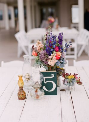 Colorful Vintage Centerpieces with Book Table Numbers