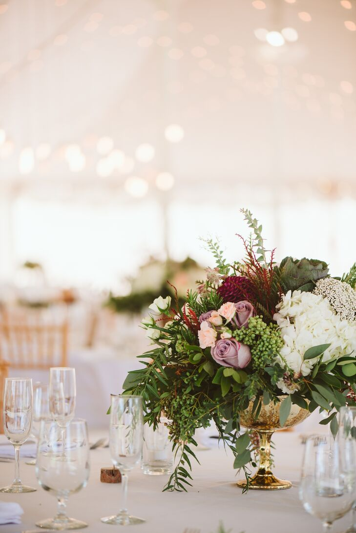 Cascading Rose and Hydrangea Arrangements in Gold Footed Vases