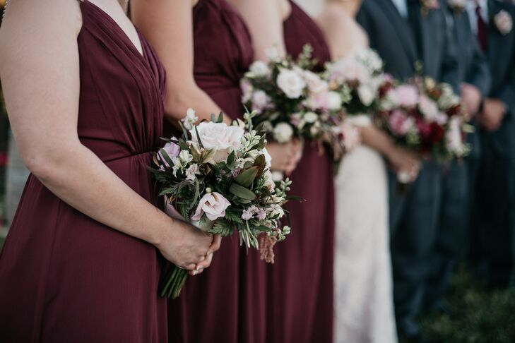 Burgundy Bridesmaid Dresses with Blush Rose Bouquets