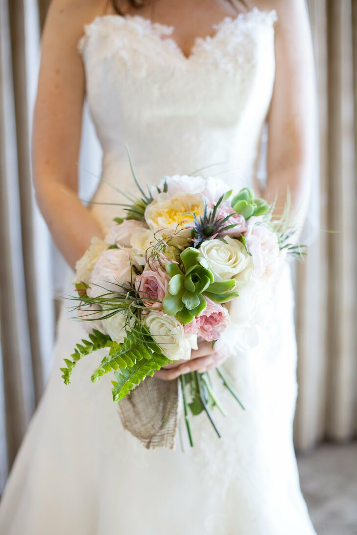 Green, White and Pink Bouquet