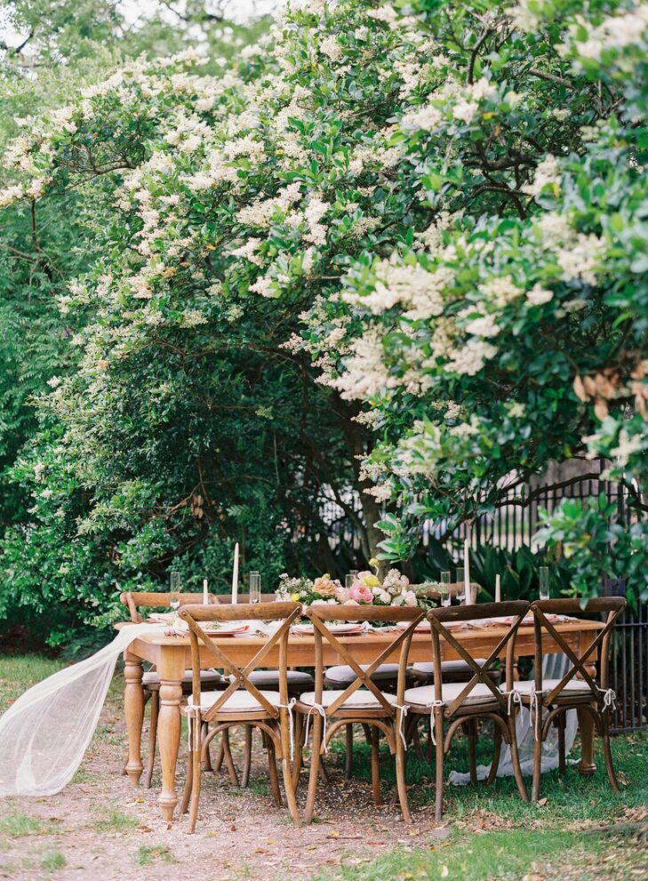 Elegant Wood Dining Table, Cross-Back Chairs and Lace Runner