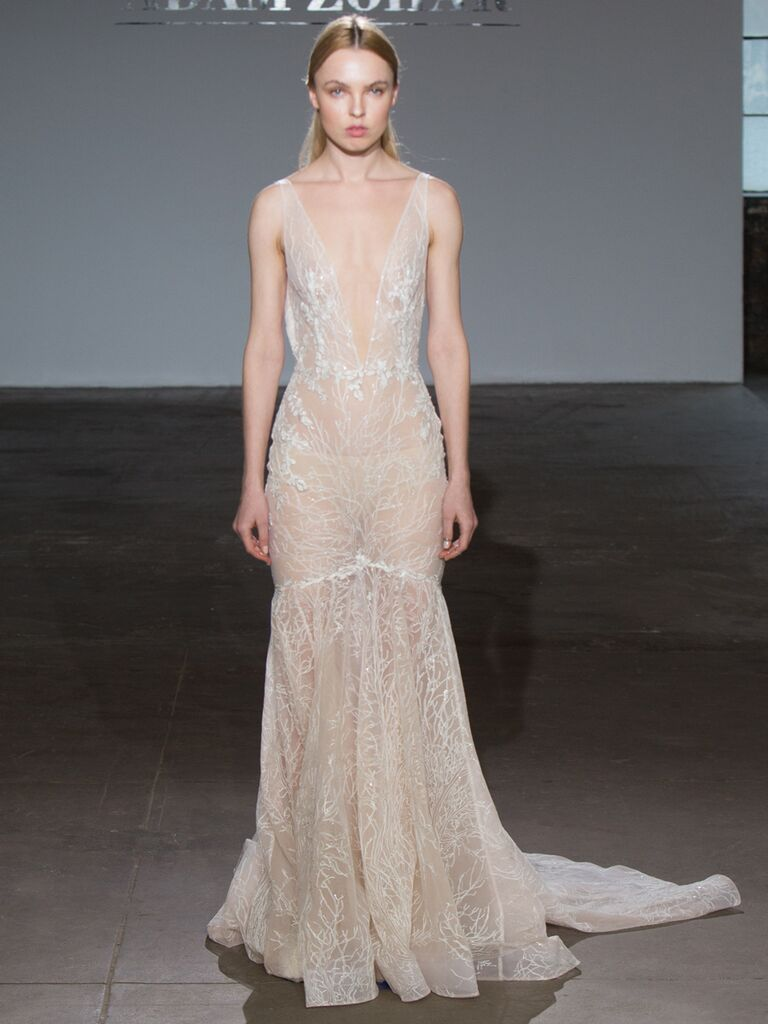 Adam Zohar Spring 2019 Collection sheer lace fit-and-flare wedding dress with plunging V-neck
