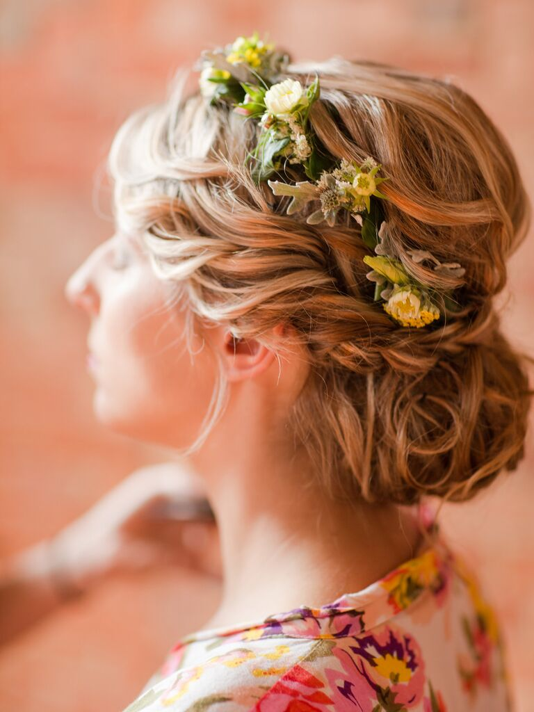 13 braided updo ideas with flowers twisted braid and small yellow flower crown mightylinksfo