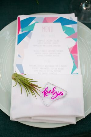 Modern, Geometric-Themed Pink and Blue Menus