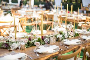 Rustic Farm Tables with Gold Taper Candles