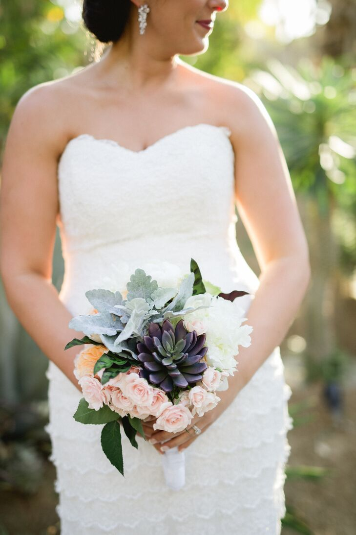 Succulent, Rose and Dusty Miller Bouquet