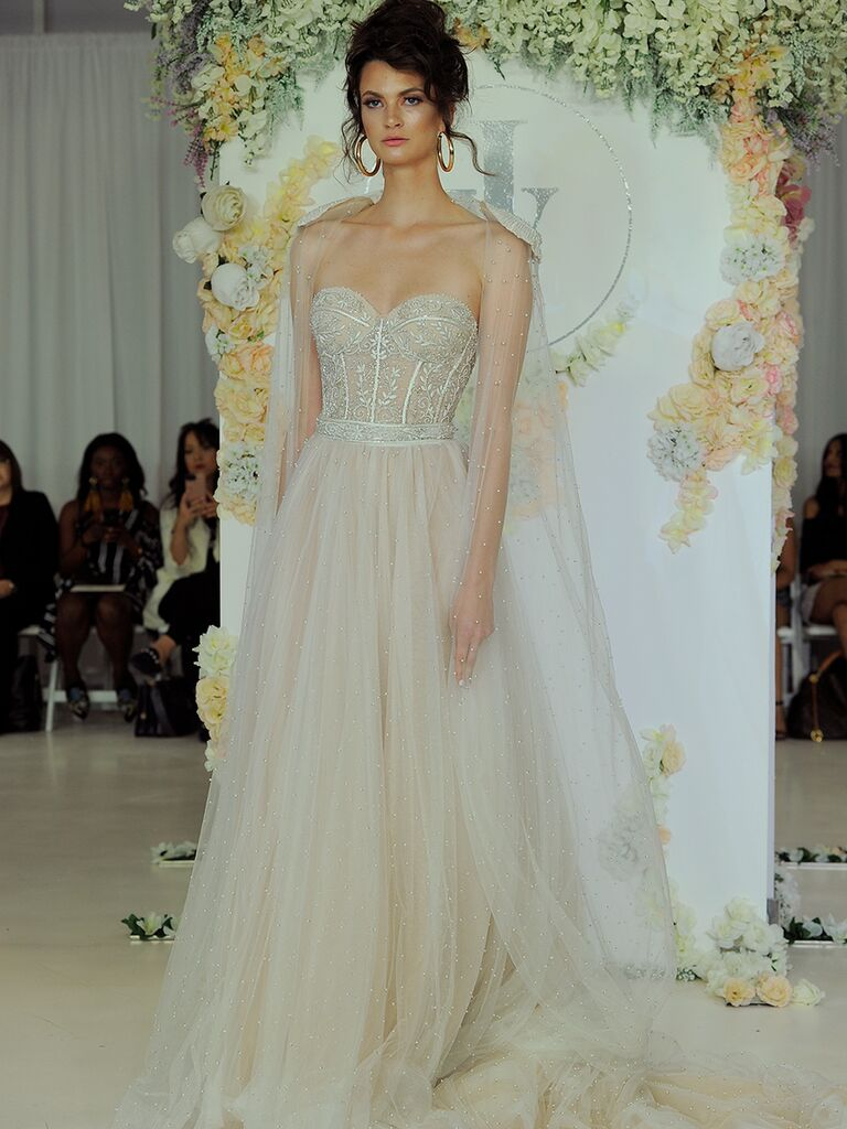 Julie Vino Fall 2018 strapless wedding dress with pearl detail