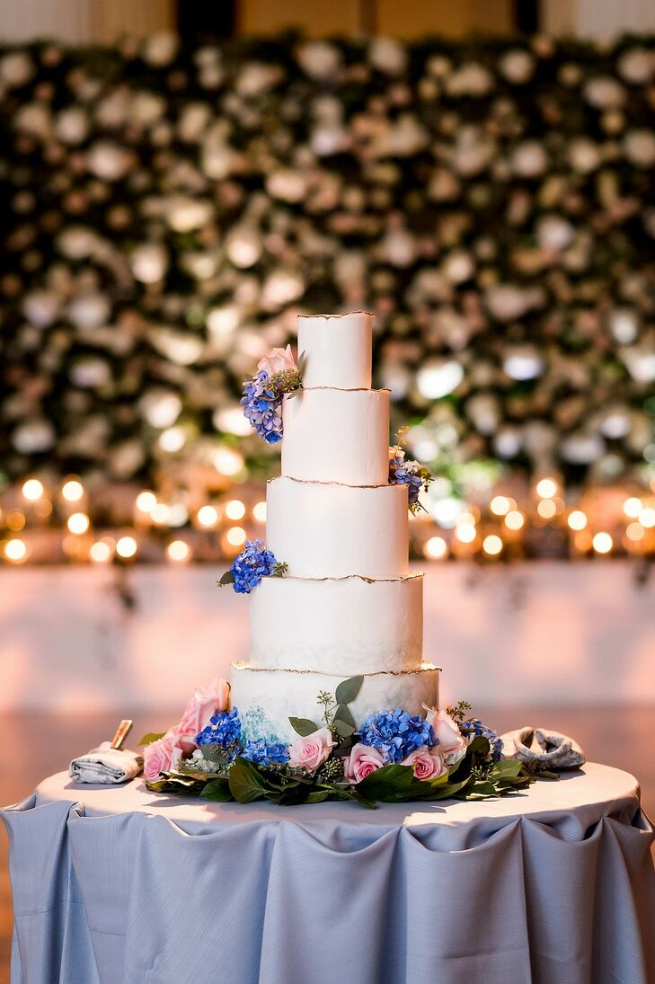 Whimsical Five-Tiered Cake with Blue Hydrangeas
