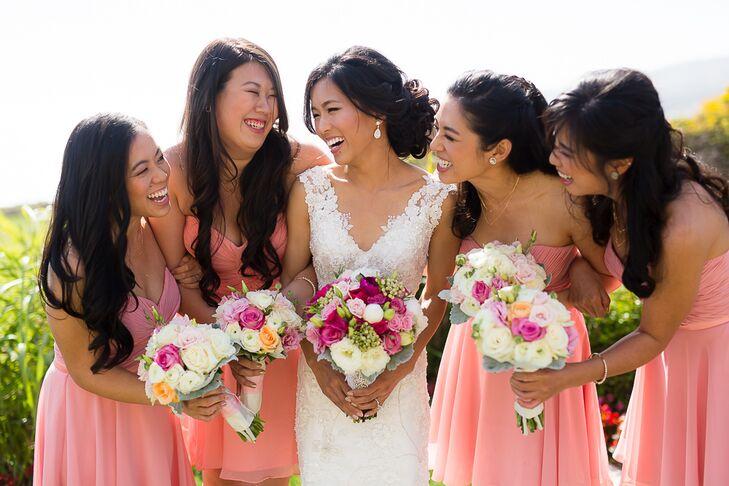 Blush Knee-Length Bridesmaid Dresses