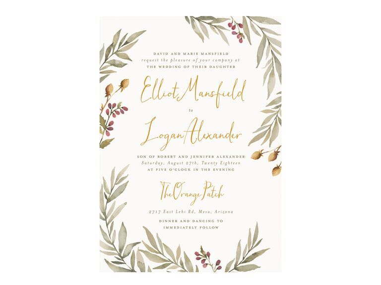 Summer wedding invitation with greenery