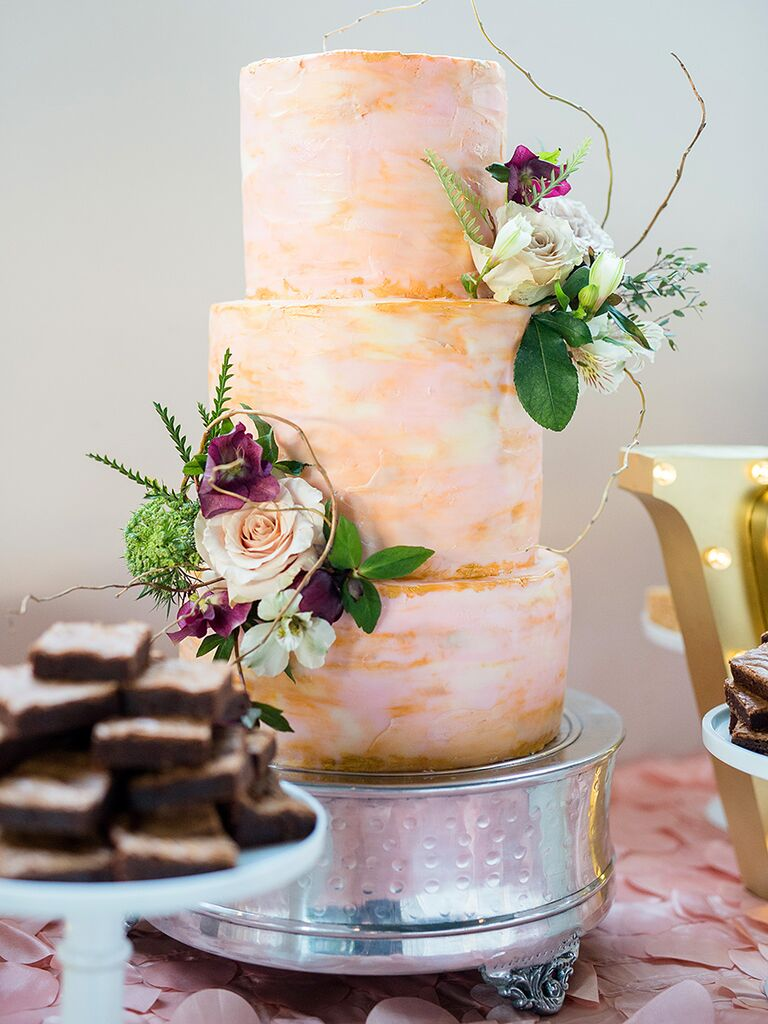 Watercolor pink wedding cake