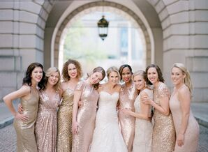 Wedding Party in Gold Sequined Dresses