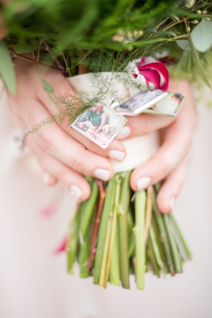 """At the base of Erin's bridal bouquet were photo charms featuring images of her late grandparents """"as a way to have them with me on my walk down the aisle. It was perfect,"""" she says."""