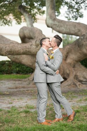 Romantic Grooms with Light Gray Suits and Brown Shoes