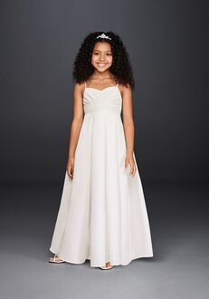 David's Bridal Flower Girl FG3707 White Flower Girl Dress