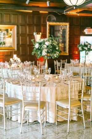 Classic Reception with Neutral Table Linens and Chiavari Chairs