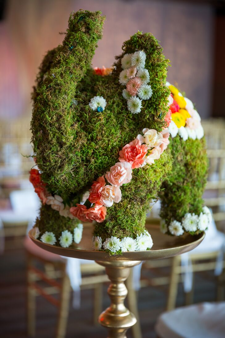 Moss Elephant Topiary Centerpieces