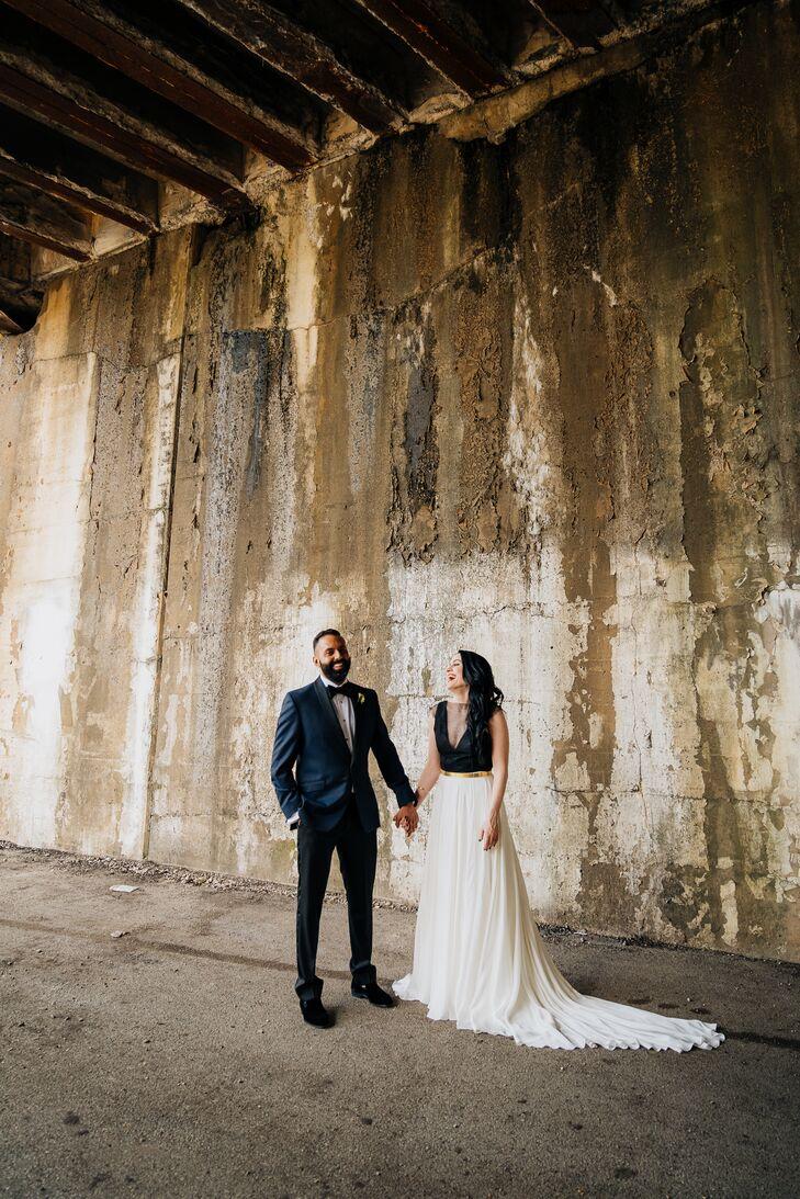 Elegant, Modern Couple in Rustic, Industrial Setting