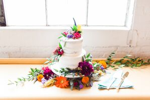 Naked Cake with Bright, Colorful Flowers