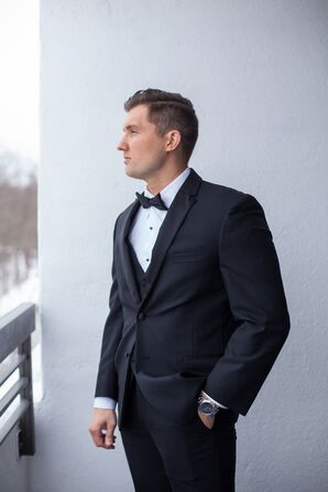 Black Wedding Tuxedo and Bow Tie