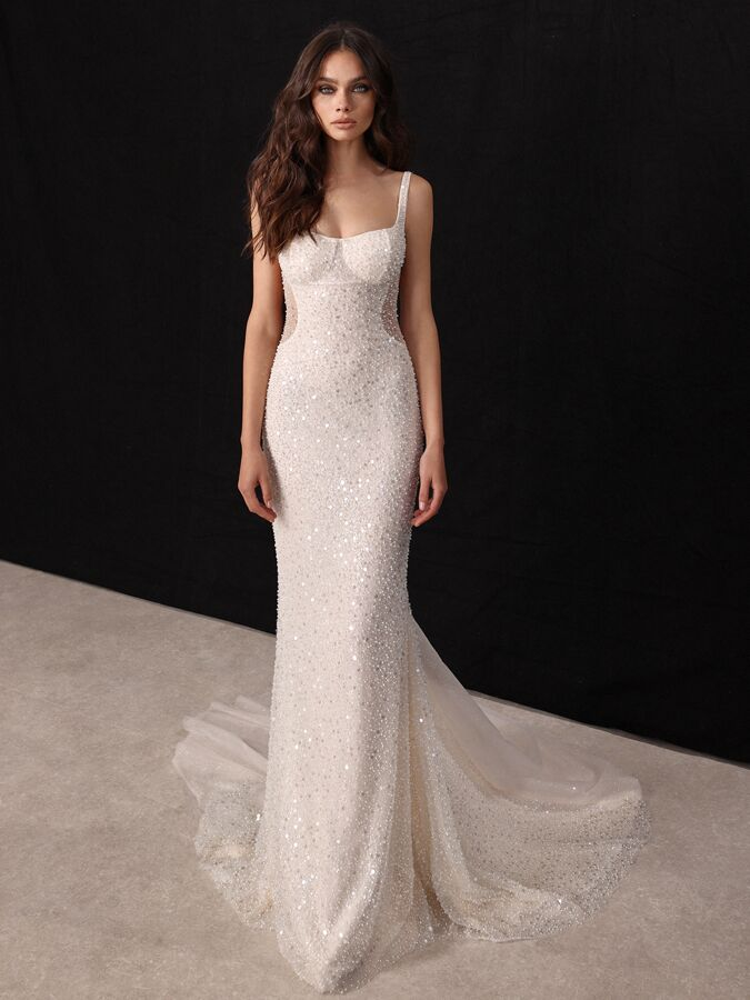 Gala by Galia Lahav beaded sheath wedding dress with cutout side panels