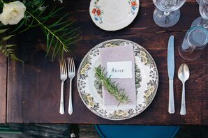 Vintage Place Settings with Fresh Rosemary Sprigs