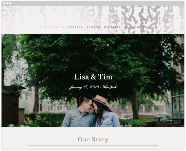 Cascade Mist Wedding Website Template, The Knot
