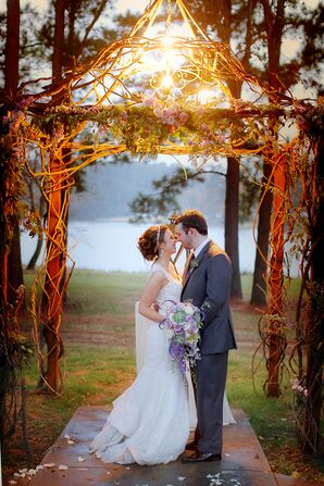 Twig Wooden Wedding Arbor With Chandelier