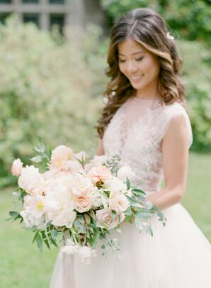 Elegant Bride and White Bouquet with Garden Roses, Peonies and Ranunculus
