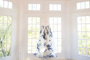 Blue Floral-Print Wedding Dress