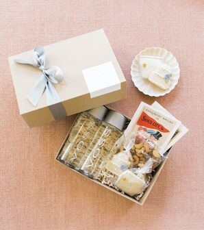 Sophisticated Welcome Boxes with Pale Blue Ribbon