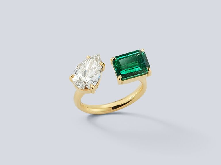 Diamond pear and emerald stone open engagement ring