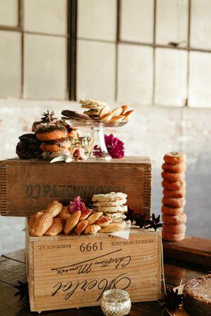 Rustic Dessert Spread on Vintage Wood Boxes