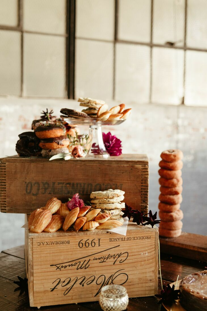 Rustic Dessert Spread on Vintage Wood Boxes