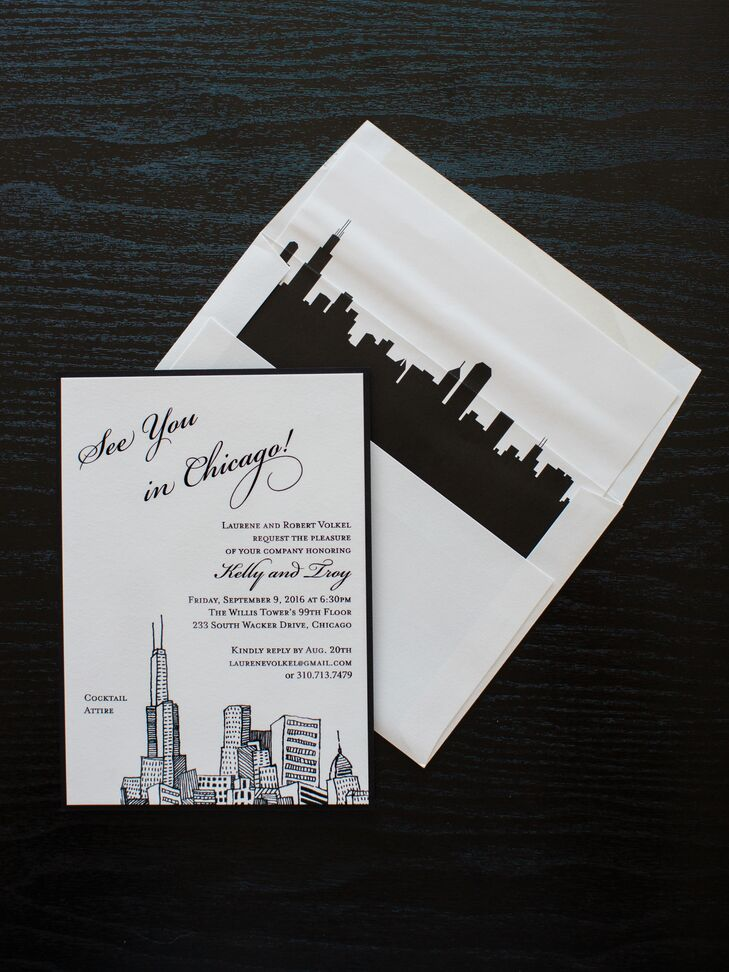 Chicago-Inspired Stationery with Skyline Envelope Liner