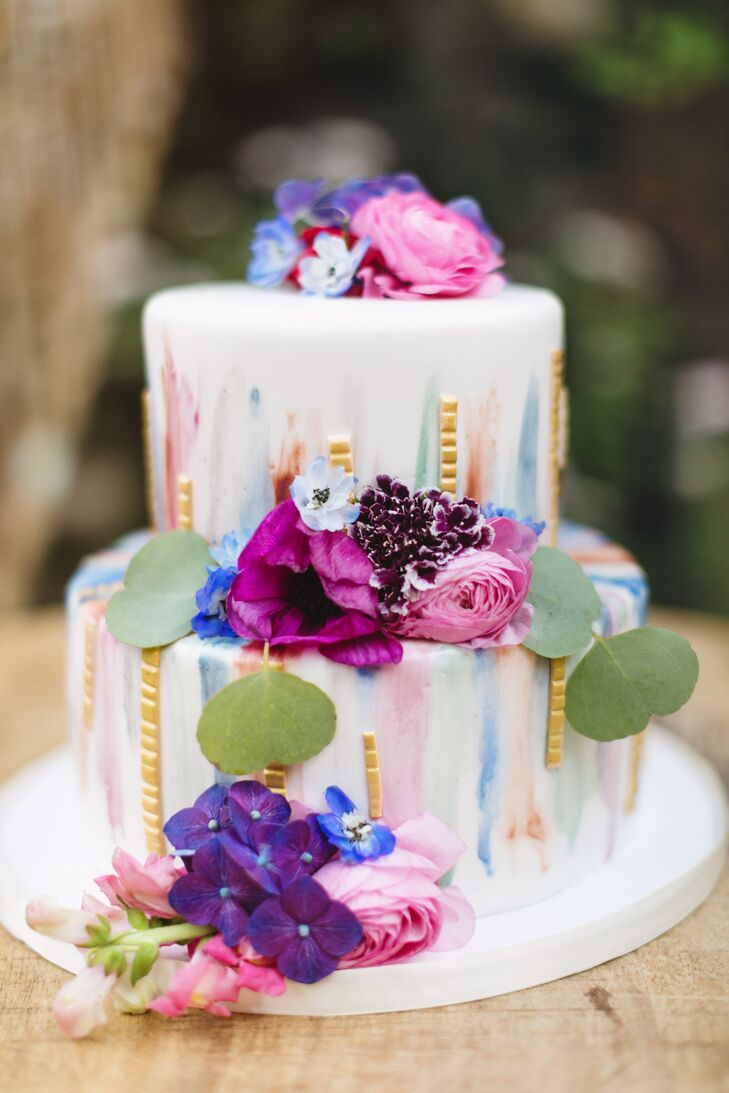 Hawaiian Wedding Cake.Hawaiian Wedding Cake With Colorful Flowers And Watercolor Detail