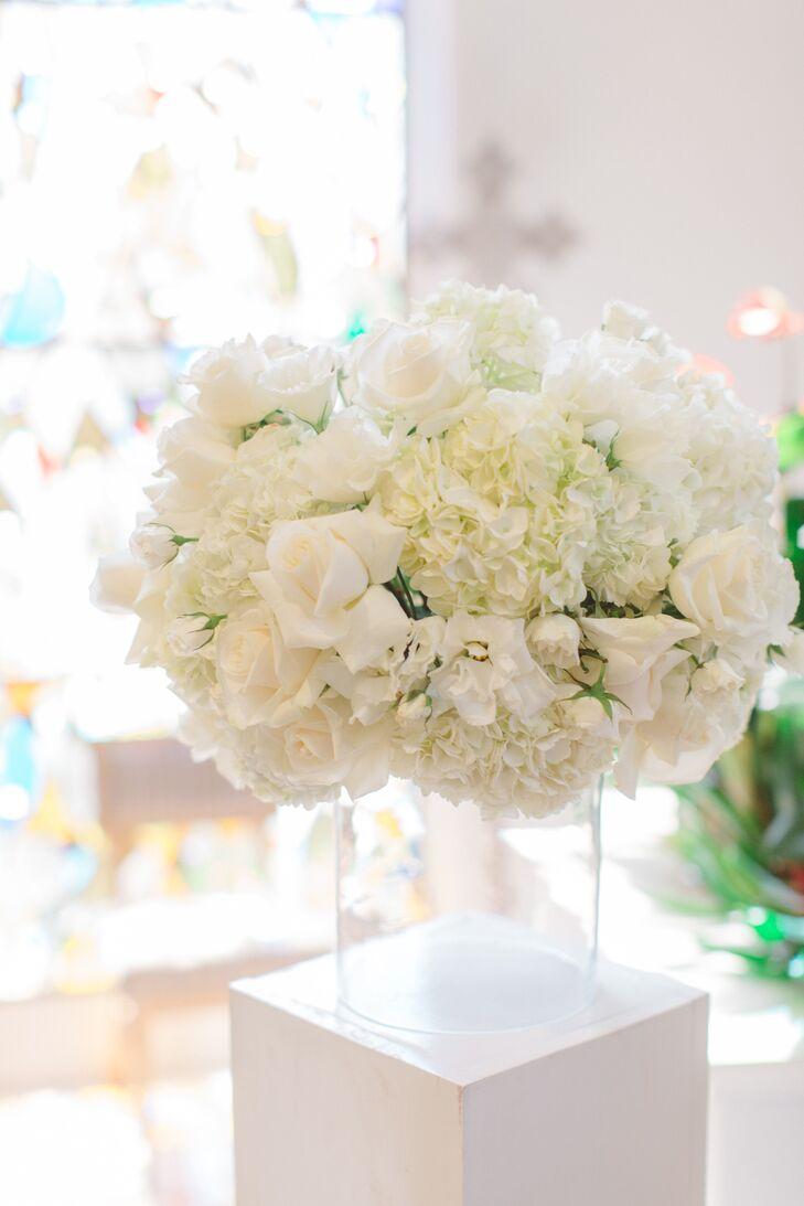 Floating White Garden Rose and Hydrangea Arrangements