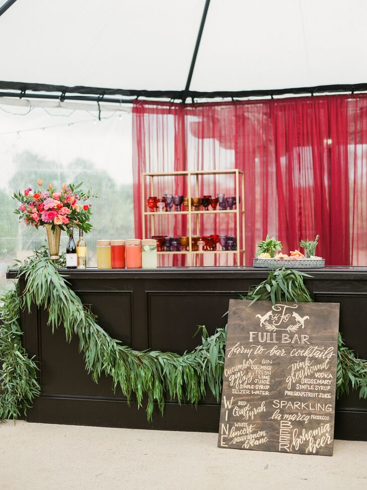 Festive Bar with Wood Sign and Greenery