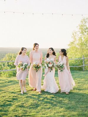 Brides in Blush Dresses at Dove Ridge Vineyard in Weatherford, Texas