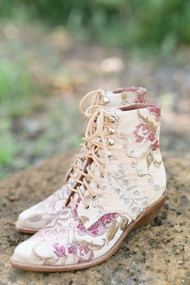 Vintage Boots with Floral Embroidery