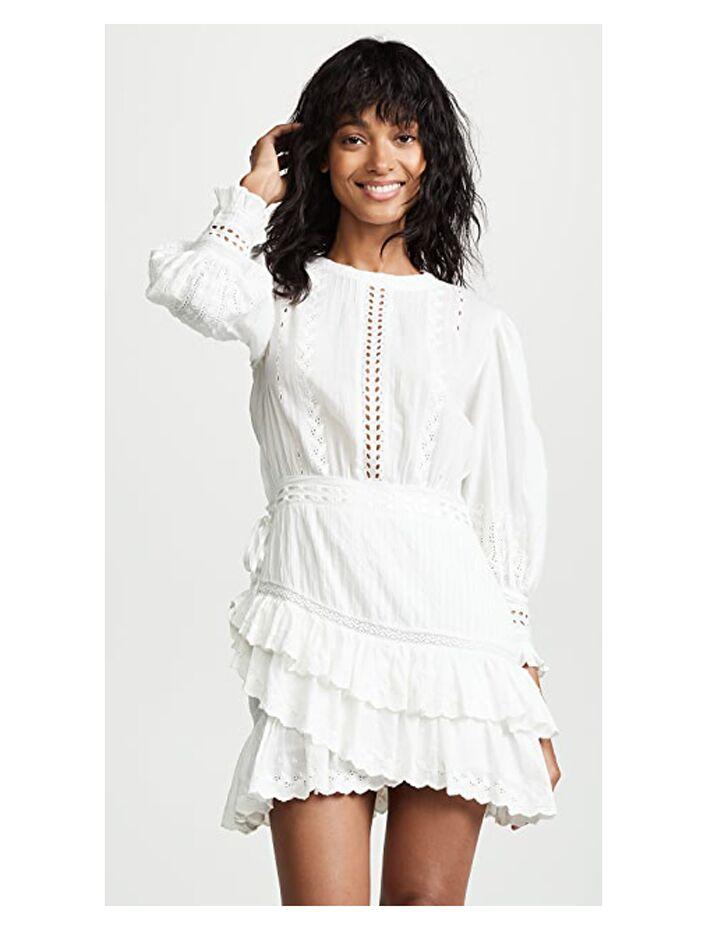 White long sleeve eyelet mini dress with ruffled skirt