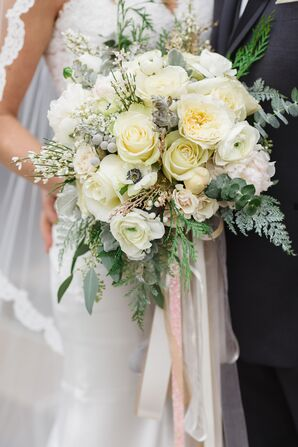 A White Winter Rose Bouquet