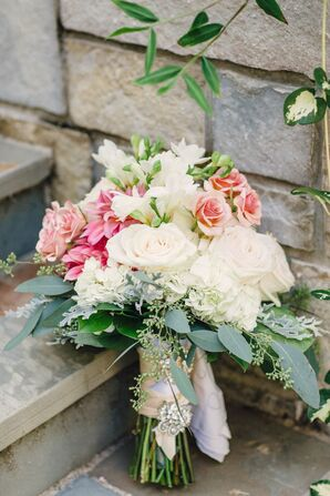 Pink and White Bridal Bouquet with Roses and Hydrangeas