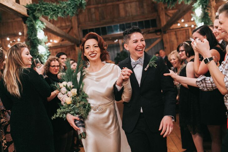 """Lexie spent several months designing a soundtrack tailored for each part of the evening, from postceremony through late-night dancing. The couple put a close friend on """"pause/play"""" duty, and after the wedding they sent guests a link for guests to download the playlist."""