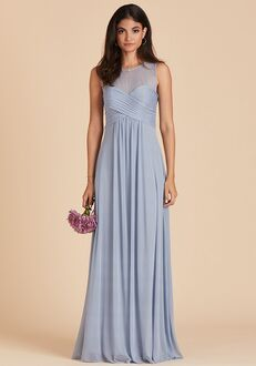 Birdy Grey Ryan Mesh Dress in Dusty Blue Illusion Bridesmaid Dress