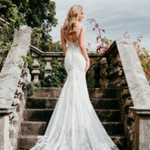 illusion back fit and flare wedding dress