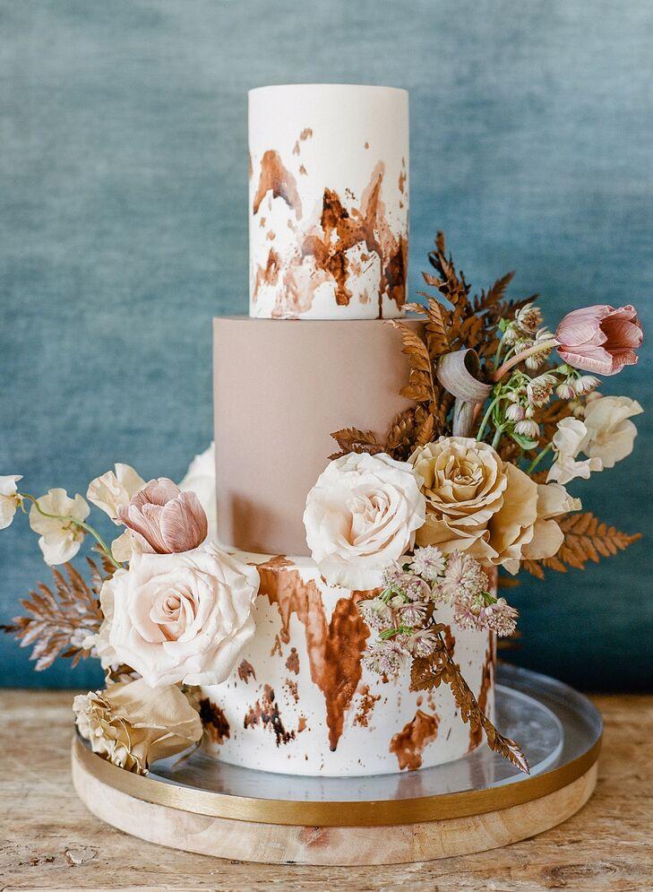 Cowhide Three-Tier Wedding Cake for Rustic California Wedding