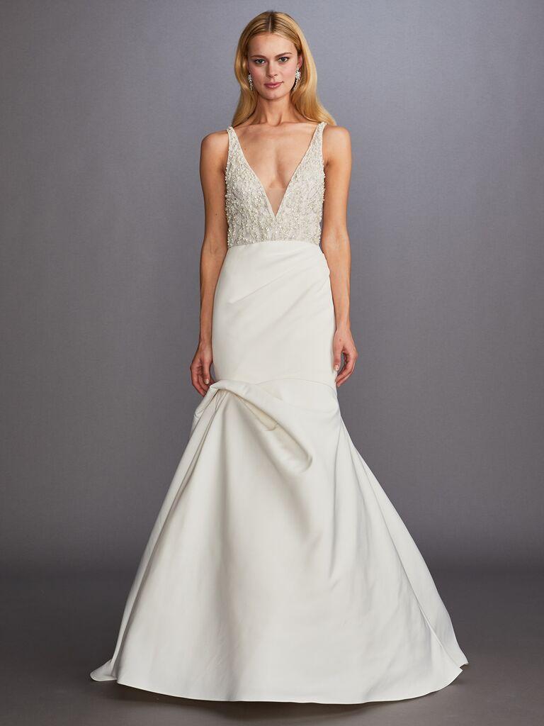 Allison Webb Fall 2019 Bridal Collection plunging wedding dress wth an asymmetrical skirt